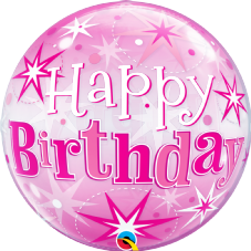 Happy Birthday Pink Stars Bubble Balloon
